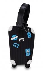 Fabrizio silikoninen nimilappu, 2 kpl, matkalaukku musta