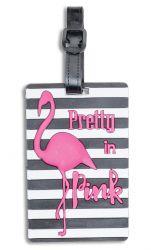 Fabrizio silikoninen nimilappu, raidallinen, flamingo