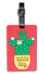 Fabrizio silikoninen nimilappu, kaktus, punainen